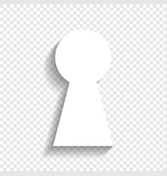 keyhole sign white icon with vector image