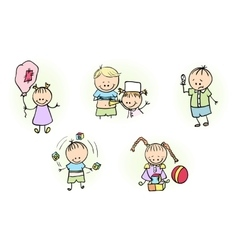 Kids playing with ball baloon vector