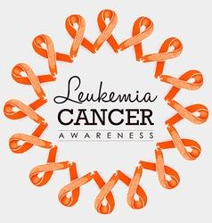 Leukemia cancer awareness ribbon design with text vector