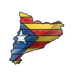 Map of catalonia and flag patriotism independence vector
