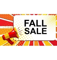 Megaphone with fall sale announcement flat style vector