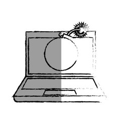 Monochrome blurred contour of laptop computer with vector