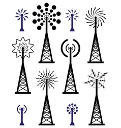 radio towers vector image vector image