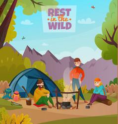 rest halt camping composition vector image