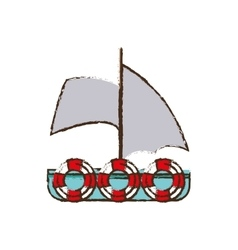 Sailboat recreation travel color sketch vector