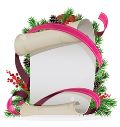 Scroll paper with ribbon and spruce branches vector