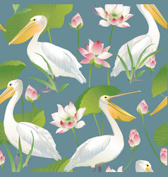 seamless pattern pelican and lotus flowers vector image