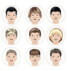 Set of boys faces vector image vector image