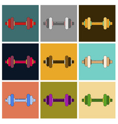Set of icons in flat design dumbbell vector