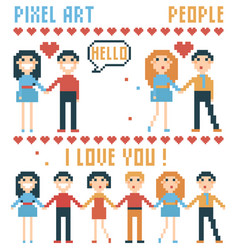 set of pixel people words hearts vector image vector image