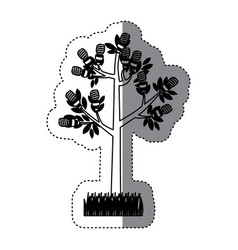 Sticker black silhouette tree leafy with grass vector