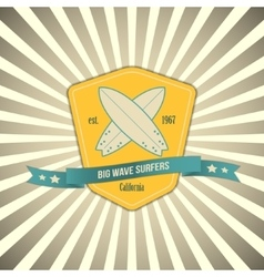 Surf badge on outburst background t-shirt vector