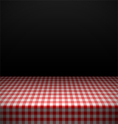 Table covered with checkered tablecloth vector image vector image