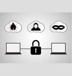Technology digital cyber security laptop lock vector