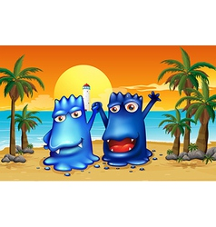 Two monsters at the beach with palm trees vector
