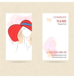 Vertical business card woman in red hat vector