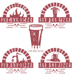vintage grunge labels set of pub and pizza vector image