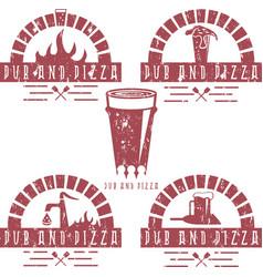 Vintage grunge labels set of pub and pizza vector