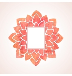 Watercolor red flower frame vector