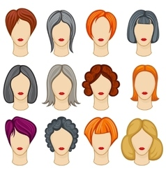Womens cartoon hair hairstyles collection vector image