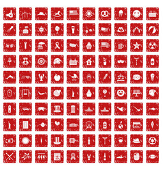 100 summer holidays icons set grunge red vector image vector image