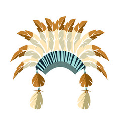 Chiefs war bonnet with feathers native american vector