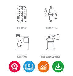 Wheel fire extinguisher and spark plug icons vector