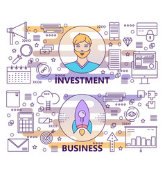 Modern thin line investment and business vector