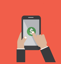 Hand touching smartphone with dollar sign vector