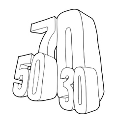 30 50 70 percent sale icon outline style vector image