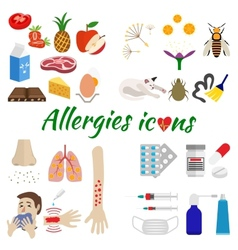Allergy icons set vector