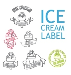 Line ice cream badges vector