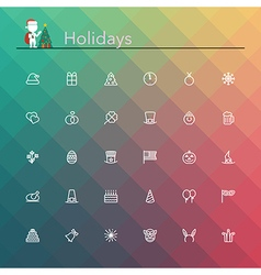 Holidays line icons vector