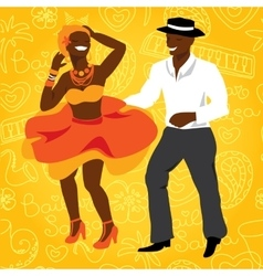 Salsa dancers cuban couple dance salsa vector
