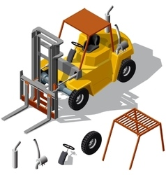 Forklift loader shadowed vector