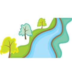 landscape with trees and river vector image
