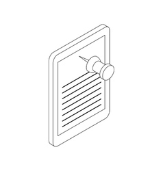 Note paper and pin icon isometric 3d style vector