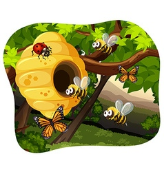 Bees and bugs in the tree vector