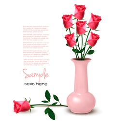 pink roses in vaze vector image