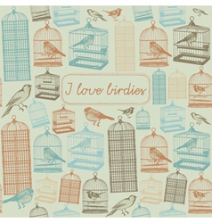 Bird cages background pattern vector