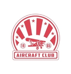 Aircraft club red emblem design vector