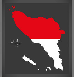 Aceh indonesia map with indonesian national flag vector