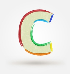 Alphabet letter c watercolor paint design element vector