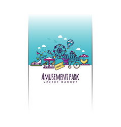 Amusement park banner template vector