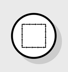 Arrow on a square shape flat black icon vector
