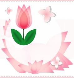 Beautiful pink tulip card vector