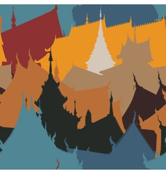 Buddhist buildings tile vector image