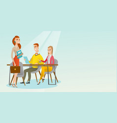 business partners working in office vector image