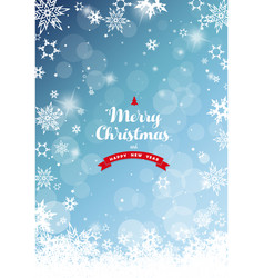 christmas blue background with white snowflakes vector image vector image