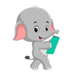 cute elephant reading a book vector image